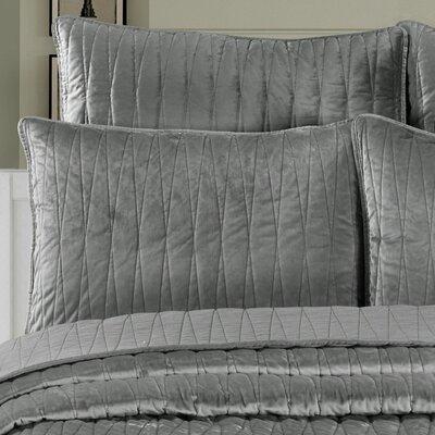 Premium Velvet Pillow Sham Size: King, Color: Gray