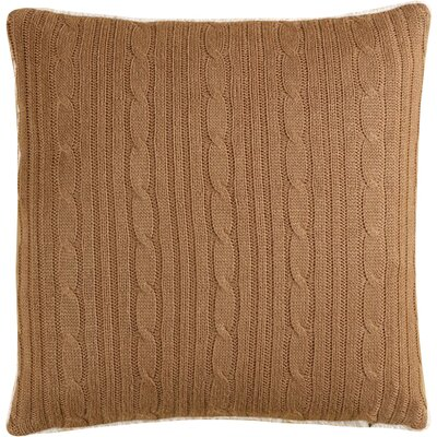 Cozy Cable Knit Throw Pillow Cover Color: Taupe