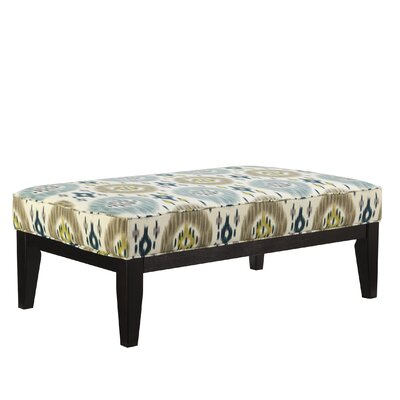 Brileigh Accents 966XX08 Oversized Accent Ottoman with Fabric Upholstered Seat  Tall Tapered Legs in a Dark Finish and Welt Cord Details in 443576