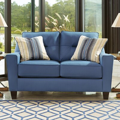 Huebert Loveseat Upholstery: Blue