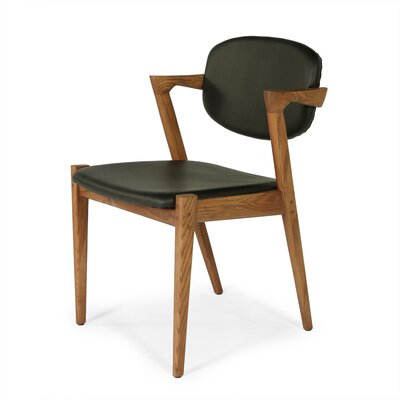 The Levanger Genuine Leather Upholstered Dining Chair
