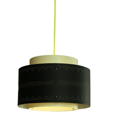 Venlo 1-Light Drum Pendant Shade Color: Black and green