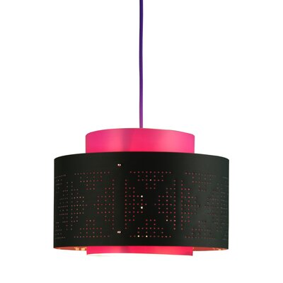 Venlo 1-Light Drum Pendant Shade Color: Black and Fuchsia
