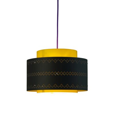Venlo 1-Light Drum Pendant Shade Color: Black and yellow