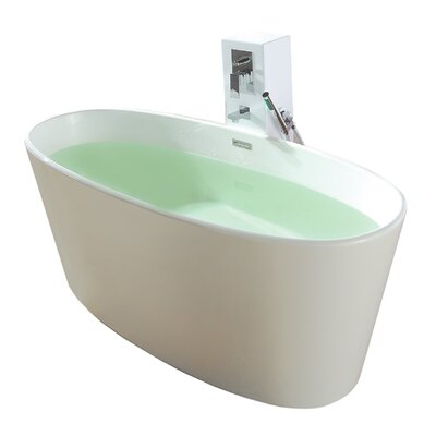 True Solid Surface Vinyasa 62.25 x 27.5 Soaking Bathtub Finish: Matte White