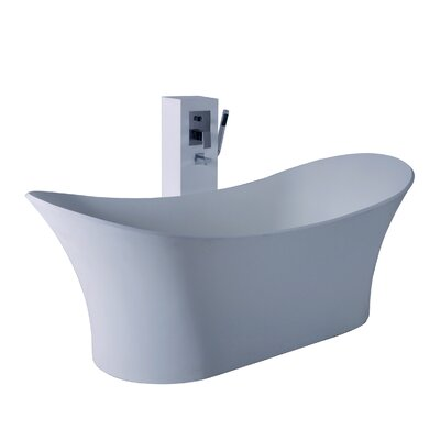 True Solid Surface Cloud 68.88 x 29.5 Soaking Bathtub Finish: Matte White