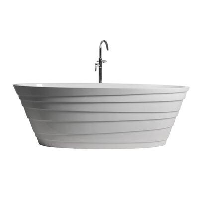 True Solid Surface Wave 70.88 x 33.5 Soaking Bathtub Finish: Matte White