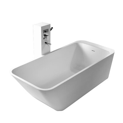 True Solid Surface Balance 67 x 29.5 Soaking Bathtub Finish: Matte White