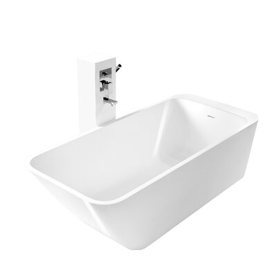 True Solid Surface Balance 67 x 29.5 Soaking Bathtub Finish: Glossy White