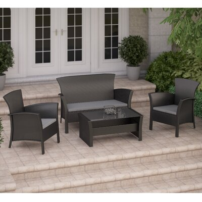 Cascade 4 Piece Lounge Seating Group with Cushions