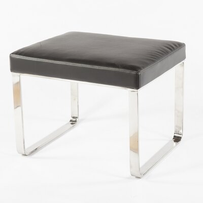 Saffle Leather Ottoman Upholstery: Black