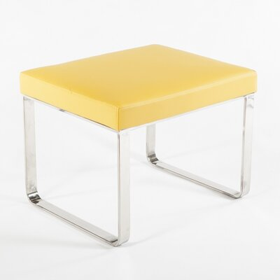 Saffle Leather Ottoman Upholstery: Yellow