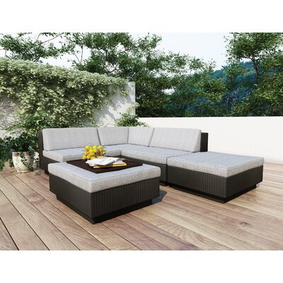 Park Terrace 5 Piece Deep Seating Group with Cushions Finish: Black