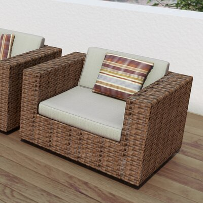 Park Terrace 5 Piece Seating Group with Cushions Finish: Saddle Strap Weave