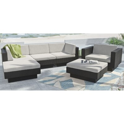 Park Terrace 6 Piece Deep Seating Grouping With Cushions Finish / Upholstery: Black / Salt and Pepper