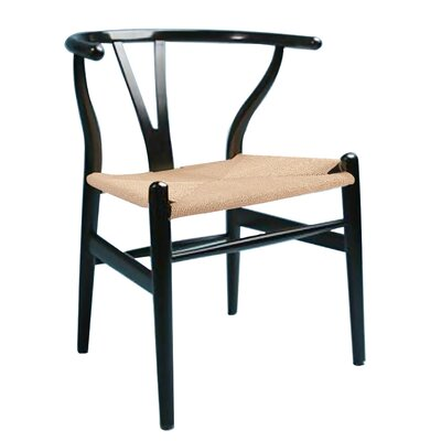The Wishbone Side Chair Color: Black & Natural