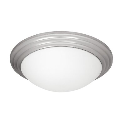 2-Light Flush Mount Finish: Brushed Steel, Size: 4