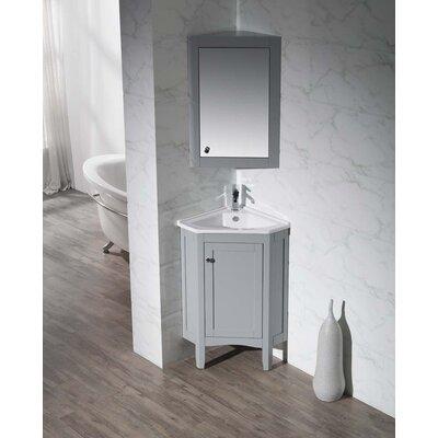 Argo 25 Single Corner Bathroom Vanity Set with Mirror Base Finish: Grey