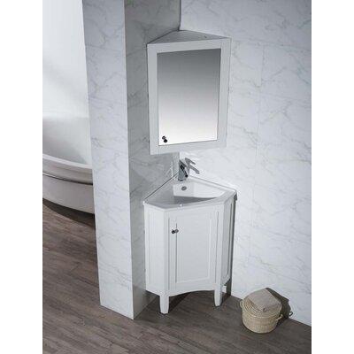 Argo 25 Single Corner Bathroom Vanity Set with Mirror Base Finish: White
