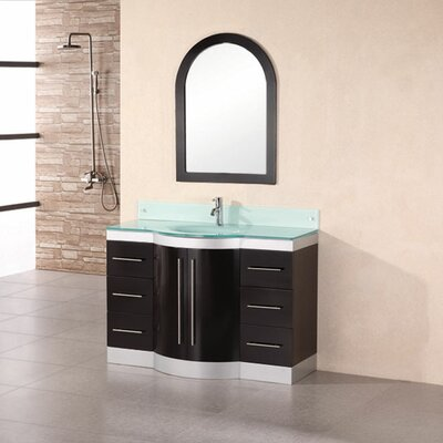 Sirena 48 Single Bathroom Vanity Set with Mirror Top Finish: Tempered Glass