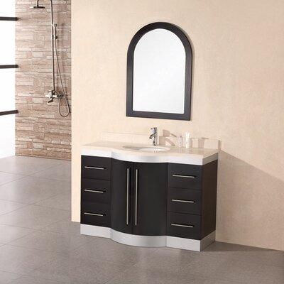 Sirena 48 Single Bathroom Vanity Set with Mirror Top Finish: Travertine Stone