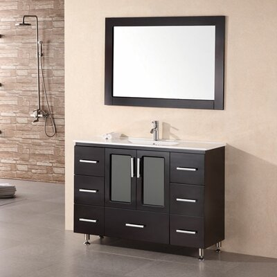 Pratt 48 Single Modern Bathroom Vanity Set with Mirror Base Finish: Espresso