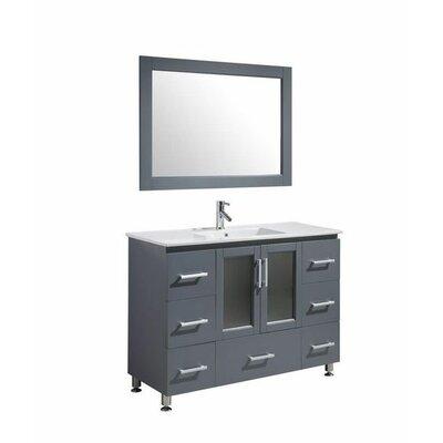 Pratt 48 Single Modern Bathroom Vanity Set with Mirror Base Finish: Gray