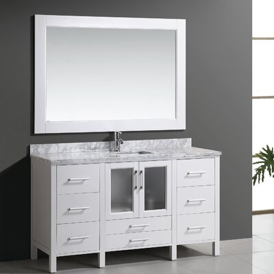 Claravale 60 Single Modern Bathroom Vanity Set with Mirror Base Finish: White