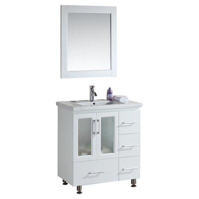 Pratt 32 Single Modern Bathroom Vanity Set with Mirror Base Finish: White