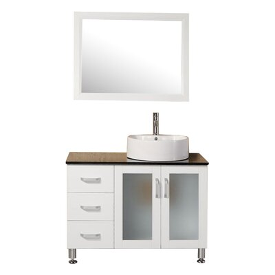Palm Springs 39 Single Modern Bathroom Vanity Set with Mirror Base Finish: Pearl White