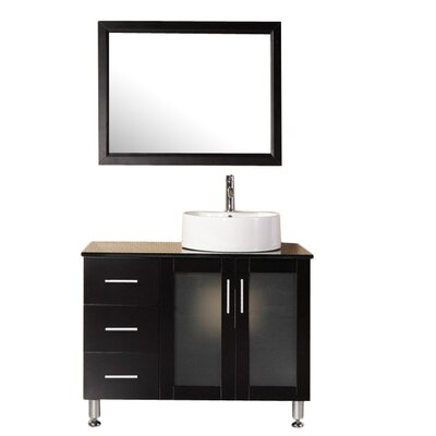 Palm Springs 39 Single Modern Bathroom Vanity Set with Mirror Base Finish: Espresso