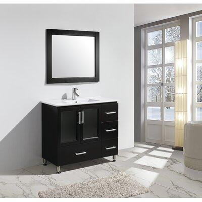 Pratt 40 Single Sink Vanity Set with Mirror Base Finish: Espresso