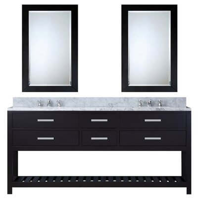 Berghoff Contemporary 72 Double Bathroom Vanity Set with Mirror Base Finish: Espresso