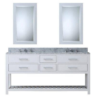Berghoff Contemporary 72 Double Bathroom Vanity Set with Mirror Base Finish: Pure White