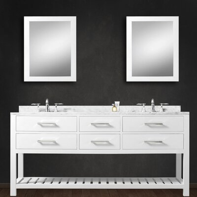 Fran 60 Double Bathroom Vanity Set with Mirror Base Finish: Pure White