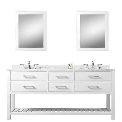 Berghoff 60 Wood Base Double Bathroom Vanity Set with Mirror Base Finish: Pure White