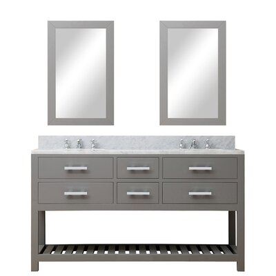 Fran 60 Double Sink Bathroom Vanity Set with Mirror Base Finish: Cashmere Gray