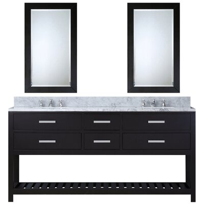 Fran 60 Double Sink Bathroom Vanity Set with Mirror Base Finish: Espresso