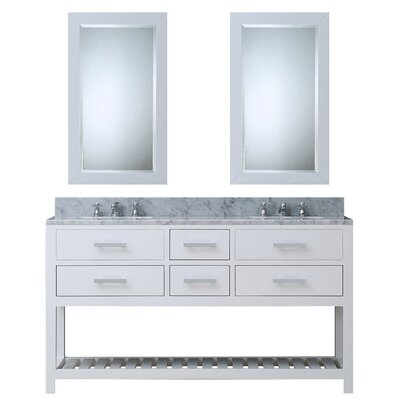 Berghoff 60 Double Sink Bathroom Vanity Set with Mirror Base Finish: Solid White