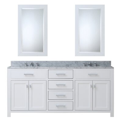 Raven Contemporary 72 Double Sink Bathroom Vanity Set with Mirror Base Finish: Solid White