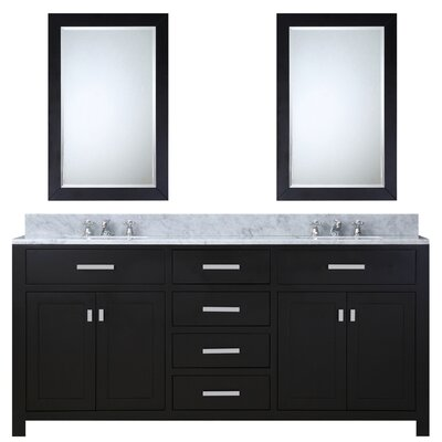 Fran 72 Double Sink Bathroom Vanity Set with Mirror Base Finish: Espresso