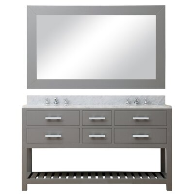 Berghoff Modern 60 Double Sink Bathroom Vanity Set with Rectangular Mirror Base Finish: Cashmere Gray
