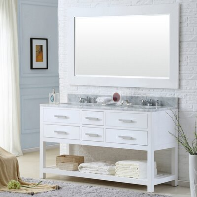 Fran 60 Double Sink Bathroom Vanity Set with Mirror Base Finish: Solid White