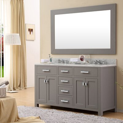Raven 60 Double Sink Bathroom Vanity Set with Rectangular Mirror Base Finish: Cashmere Gray