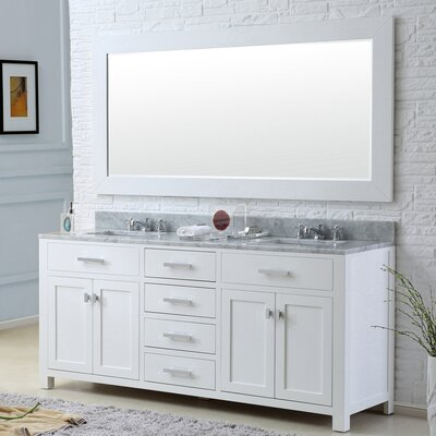 Raven 60 Double Sink Bathroom Vanity Set with Rectangular Mirror Base Finish: Solid White