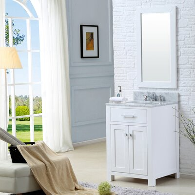 Raven Modern 24 Single Sink Bathroom Vanity Set with Mirror Base Finish: Solid White