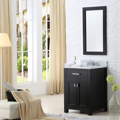 Raven Modern 24 Single Sink Bathroom Vanity Set with Mirror Base Finish: Espresso