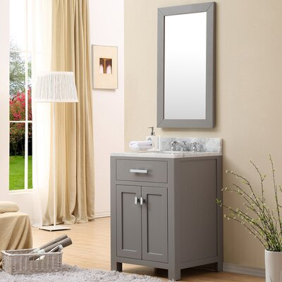 Raven Modern 24 Single Sink Bathroom Vanity Set with Mirror Base Finish: Cashmere Gray