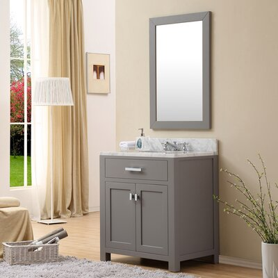 Raven 30 Wood Base Single Sink Bathroom Vanity Set with Mirror Base Finish: Cashmere Gray