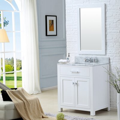 Fran 30 Single Sink Bathroom Vanity Set with Mirror Base Finish: Solid White